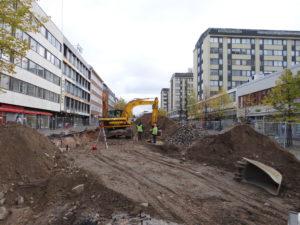 Kallioparkin eli Kivisydämen rakennustyömaata vuodelta 2012. (Arkistokuva)