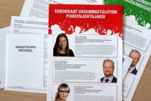 Jäsenäänestysmateriaali on tullut vasemmistoliiton jäsenille postitse. (Kuva: Tero Kaikko)