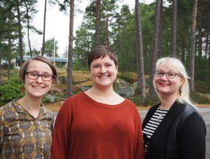 Anni Järvinen, Saila Ruuth ja Sannamari Sala muodostavat Vasemmistonaisten puhenaiskolmikon. (Kuva: Katri Kangas)